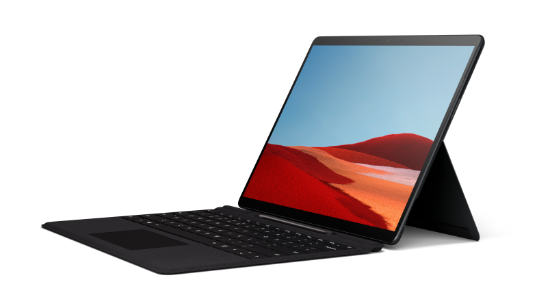 A side view of the Surface Pro X in laptop mode with Signature Keyboard in black