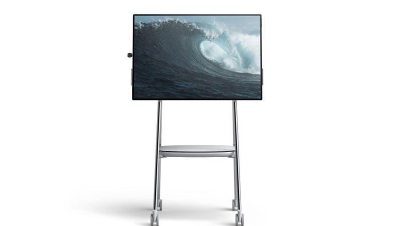 The Surface Hub 2 horizontally oriented on the Steelcase Roam Mobile Stand