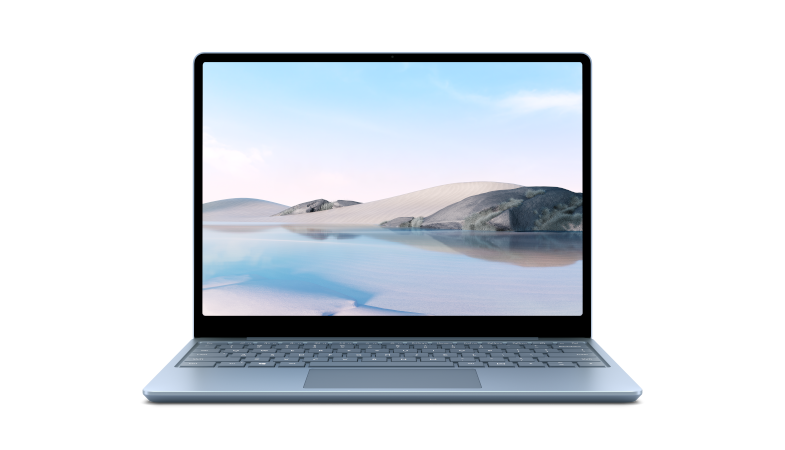 A Surface Laptop Go in ice blue from the front