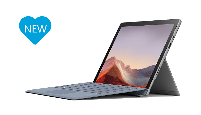 The Surface Pro 7 Plus in laptop mode with the Surface Pro Signature Type Cover in ice blue with a blue heart that says NEW on the left next to the Surface device
