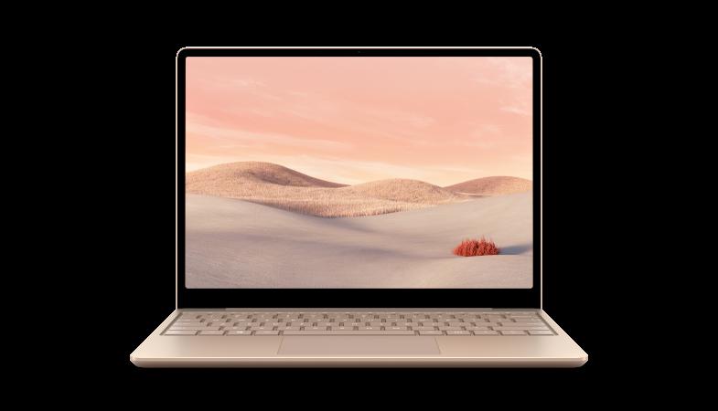 Ein Surface Laptop Go in Sandstein von vorne