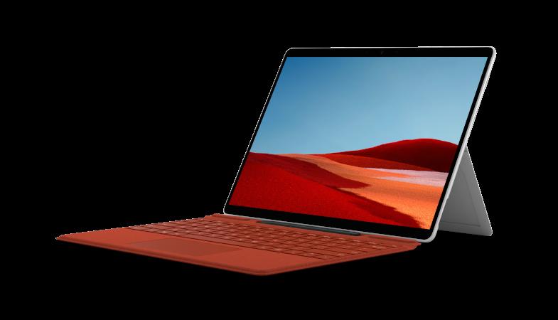 Das Surface Pro X in Platin in der Seitenansicht im Laptop-Modus mit Signature Keyboard in Mohnrot