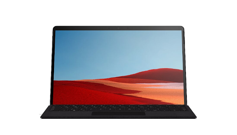 Das Surface Pro X in der Frontansicht im Laptop-Modus mit Signature Keayboard in Schwarz