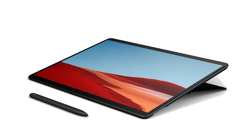 Das Surface Pro X im Studio-Modus liegend mit dem Surface Slim Pen